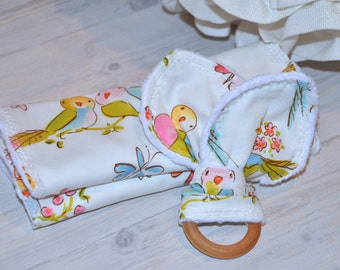 Bibs and A Crinkle Teething Toy ~ 2 Bibs and a Sensory Teether ~ Love Birds