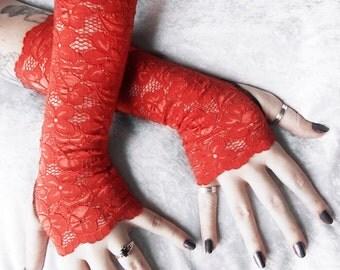 Bonfire Lace Arm Warmers | Rust Burnt Orange Floral | Wedding Bridal Lace Gloves Fox Woodland Pumpkin Mori Gothic Victorian Belly Dance Goth