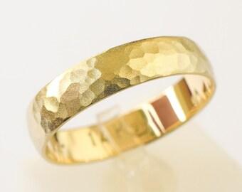 Wedding band 14k gold Wedding ring hammered sandblast finish yellow gold ring 5mm wide