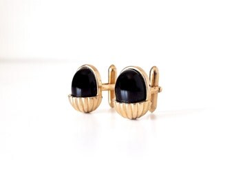 Vintage Black and Gold Cufflinks Swank