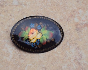 Vintage Hand Painted Black Lacquer Floral Brooch Signed