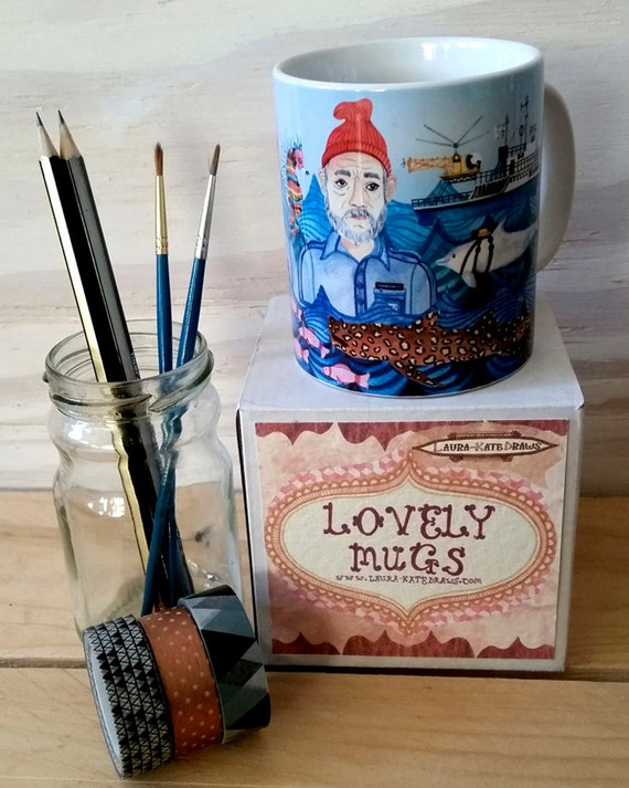 Life Aquatic mug, Bill Murray mug, Wes Anderson gift