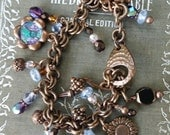Handcrafted copper charm bracelet