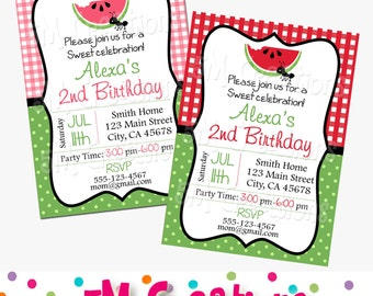 Watermelon Party Invitation - Picnic Birthday Party- Pink or Red Gingham Invite - Watermelon Printable Invite - Watermelon Birthday Party