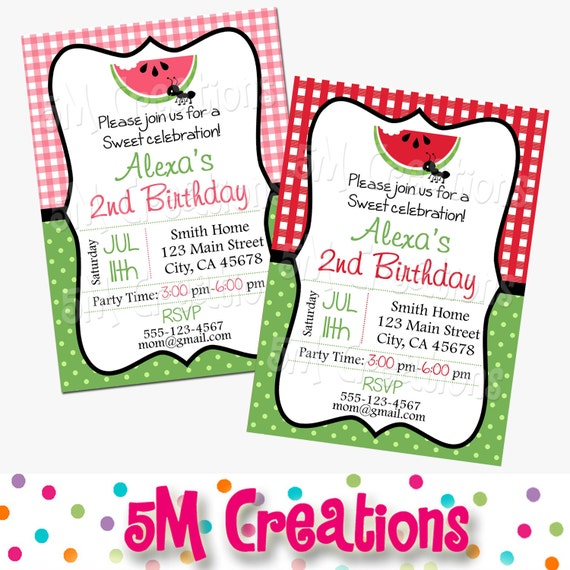 Watermelon Party Invitation Picnic Birthday Party Pink or Red – Picnic Party Invitations