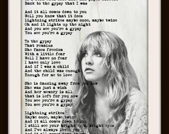 Custom Stevie Nicks Fleetwood Mac Gypsy Minimalist Art Print