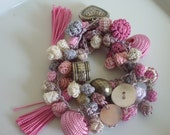 Moroccan art silk bead tassel necklace/bracelet, pinks