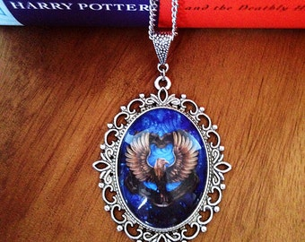 Ravenclaw House Crest Pendant Necklace 30x40- Harry Potter J.K. Rowling Ravenclaw House Crest Charm- Pottermore Charm- Book Related Jewelry