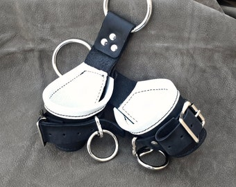 BDSM Suspension Cuffs Black Leather WHITE Leather Lining