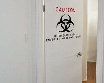 Biohazard Bedroom Door Decal