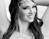 Headchains w Swarovski crystals, chains swags matching bodychain set, performance head dress, hair accessory, metal pieces bellydance