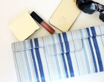 SALE - Leather Clutch / Small Handbag / Purse Clutch - Blue Stripes