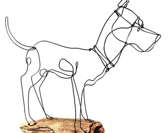 Large Dog Wire Sculpture, Dog Wire Sculpture, Folk Wire Art, Large Dog Sculpture, 237734326