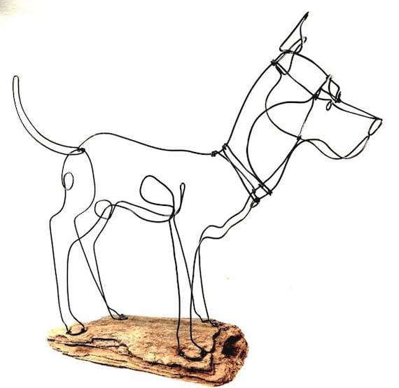 Large dog wire sculpture dog wire sculpture folk wire art for Dog wire art