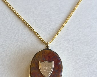 Victorian Agate Locket Necklace with Hair - Original Antique
