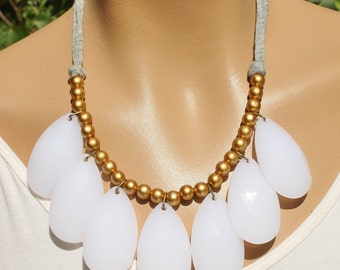 Chunky White Teardrop Statement Fashion Necklace Anthropologie Stormy Seas