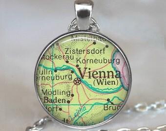 Vienna map necklace, Vienna map pendant, Vienna necklace, Vienna pendant, map jewelry map jewellery Vienna key chain key fob