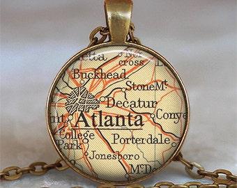 Atlanta map necklace, Atlanta map pendant, Atlanta necklace, Atlanta pendant, map jewelry, Atlanta keychain Atlanta key chain