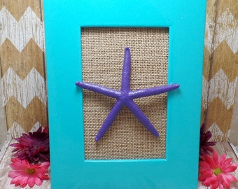 Purple Framed Starfish In Turquoise Frame & Burlap Background - Table Top Frame