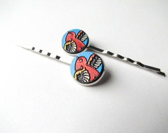 Red Bird Bobby Pins with Blue, Embossed Wood