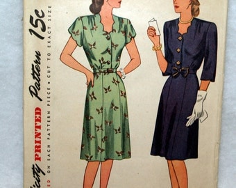 1940s Vintage Misses Day Dress Simplicity 1571 Vintage Sewing Pattern