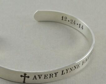 Mens Cuff Bracelet, hand stamped sterling silver, bracelets, keepsake birthday anniversary gifts, men gift guide, engraved, cross arrow RICK