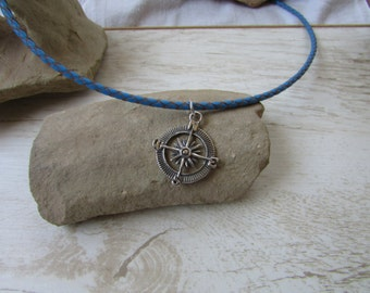 Sterling Silver Nautical Compass Necklace with Sea Blue Leather Chain, Compass Pendant, Leather Necklace, Navigation Jewelry, Compass Charm