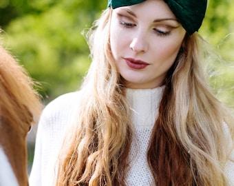Bottle Green Velvet Bow Headband, Velvet Headband, Winter Fashion Accessory, Oversized Bow Headband