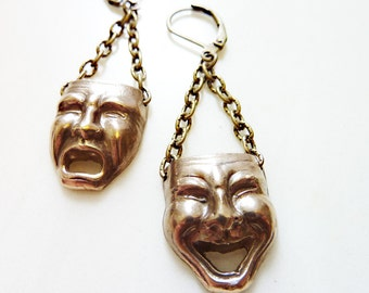 Comedy Tragedy Earrings, Hand-Cast Bronze or Sterling Silver, Mask, Face, Figural, Theater, Drama, Acting, Thespian