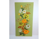 70s Flower Embroidered Wall Art, Retro, Green Background, Vertical, Handmade Large Unframed Knitting Needlework Cross Stitch