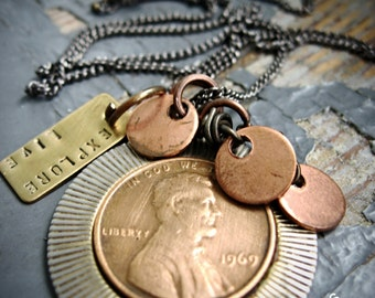 Pass It On - lucky vintage penny, stamped metalwork tag, copper & sealed link chain necklace
