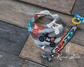 Motorcycle Bandana Bib, Baby Boy Bib, Dirt Bike, Personalized Pacifier Clip, Baby Shower Gift, 1st Birthday Boy