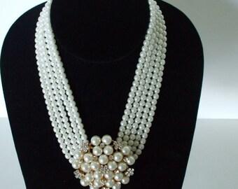 Pearls Rhinestone Center Brooch/ Choker - Multi Strands, -  Bride - Wedding - Victorian -  Statement Necklace - Ship Free USA