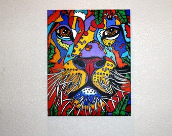 "Lion In the Bush - 11"" X 14"" HANDPAINTED Stretched Canvas Print"