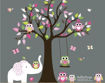 Children Wall decals, Nursery Wall Decals, Tree Wall Decals, Girl Wall Decals, Vinyl Wall Decals, Tree Decals,Owl Tree Decals