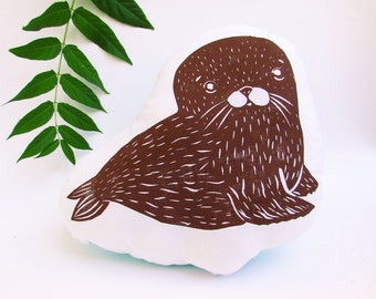 Plush Baby Seal Pillow. Hand Woodblock Printed. Choose Any Color. Made to Order.