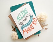 Wedding day card. All the reasons why I want to marry you card.  Groom to bride. Bride to groom. WC442