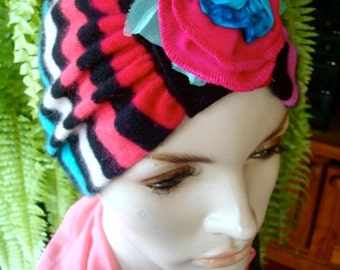 womens headband Turban wide multi colour sriped soft with wool flower clip OOAK