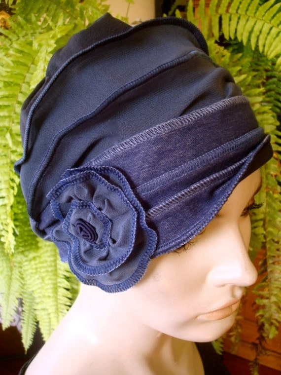 Womens Chemo Hat Headcover hat denim blue by