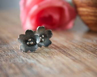 Cherry Blossom, Sterling Silver, Stud Earrings, Flower Earrings, Post Earrings... Sakura...
