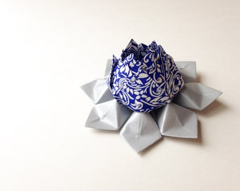 Handmade Paper Flower - Origami Lotus Flower - royal blue, white, metallic silver-  Cake Topper, Hannukah decoration, Silver Anniversary