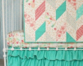 30% Reminisce Herringbone Quilt in Coral, Mint, Jade, and Peach Baby Girl Blanket for Handmade Vintage Inspired Nursery