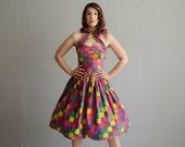 Vintage 1950s Party Dress - 50s Halter Dress - Pixelation Dress