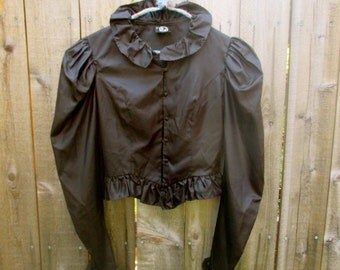 Black Blouse Victorian Style Blouse Steampunk Blouse 80s Blouse 1980 Blouse Halloween Top Blouse Shirt