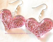 USA Pink Sparkle Glitter Heart Earrings - Sterling Silver Plated Surgical Steel French Hooks