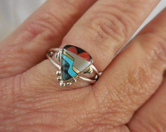 Turquoise Coral Black Onyx Sterling Ring