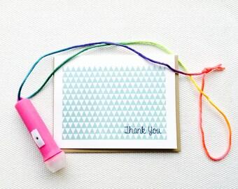 Geometric Triangle Thank You Card (Gocco printed)