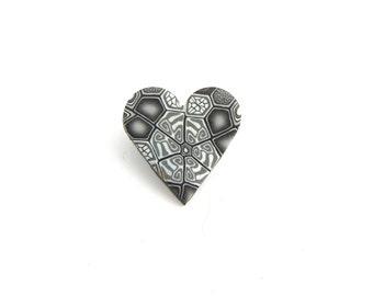 Small Grey Heart Brooch, Polymer Clay, Fimo, Millefiori, Supremily Jewellery