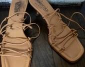 Vintage Boho Gladiator Sandal Kitten Heel Sacco Made in Italy 7 1/2