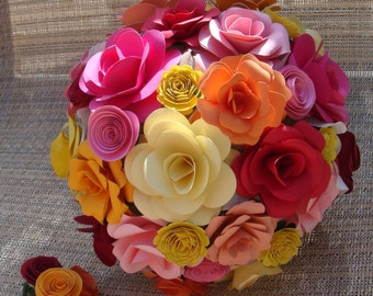 Customize your own Paper Flower  Wedding Bouquet  Rehearsal bouquet Toss Bouquet Handmade Paper Flower  Custom  Orders  Welcome